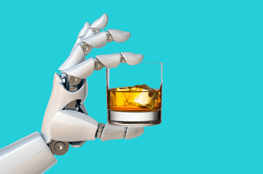 Robot hand holding whiskey